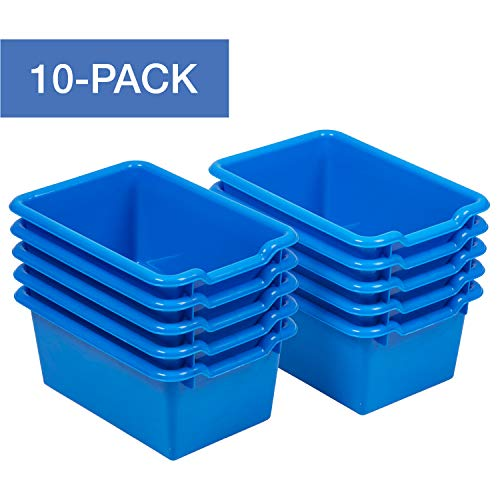 - ECR4Kids Scoop-Front Storage Bins, Easy-to-Grip Design Storage Cubbies, Kid Friendly and Built to Last, Pairs with ECR4Kids Storage Units, 10-Pack, Blue