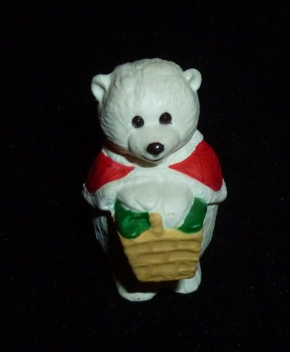 Hallmark Merry Miniature Girl Polar Bear With Basket Figurine