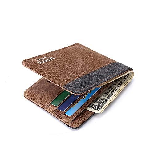 Novelty Money Clip Elite RFID Blocking Slim Canvas Bifold Men Wallet Travel Cash Purse Vertical Wallets - With Gift Box