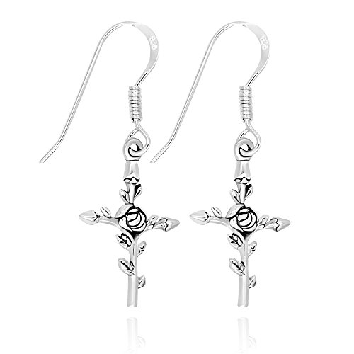 925 Sterling Silver Vintage Rose Flower Cross Dangle Earrings