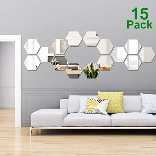 15 Pieces Removable Acrylic Mirror Setting Wall Sticker Decal for Home Living Room Bedroom Decor (Style 4, 15 Pieces) by Shappy (Image #7)