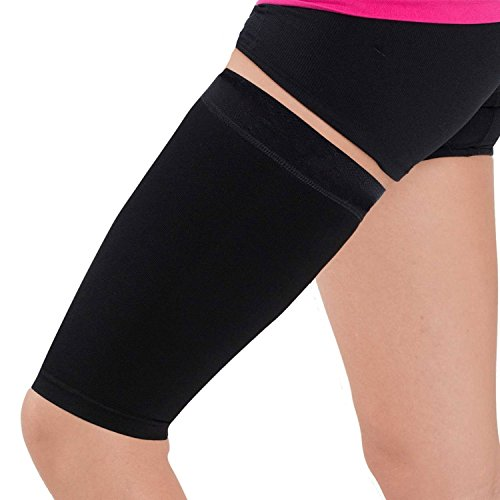 Thigh Compression Sleeve – Hamstring, Quadriceps, Groin Pull and Strains – Running, Basketball, Tennis, Soccer, Sports – Athletic Thigh Support (Single) (Black, L)