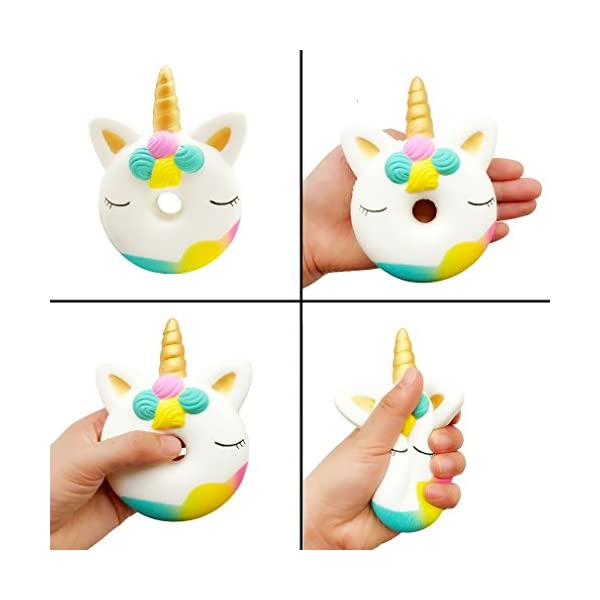 Vanely 4Pcs Slow Rising Jumbo Squishies Narwhale Cake,Uincorn Cake,Unicorn Donut,Rainbow Horse Set Cream Scented Soft Squeeze Novelty Toy Stress Relief Hop Props Sensory Toys 7