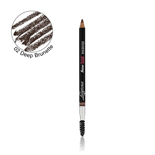 Brow Luxe Definer Pencil by Luscious Cosmetics. Sweat-Proof Eyebrow Pencil. Vegan and Cruelty Free. (Deep Brunette)