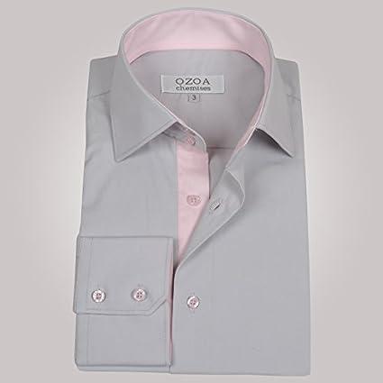 Ozoa-Camisa para hombre, color gris claro y camisa CINTREE interior, color rosa Gris Claro Small: Amazon.es: Ropa y accesorios