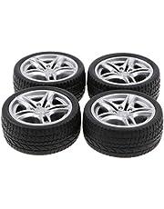 4 Pedazos Llantas Neumáticos de Gpma Negro Piezas de Repuesto para Coche de Carrera Juego de Diversión para Niños 1:10