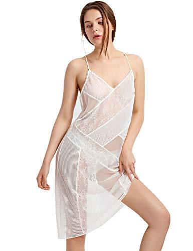 DOBREVA Women's Sexy Lace Mesh Full Slip Chemise V Neck Nightgown Ivory_Lace mesh XS