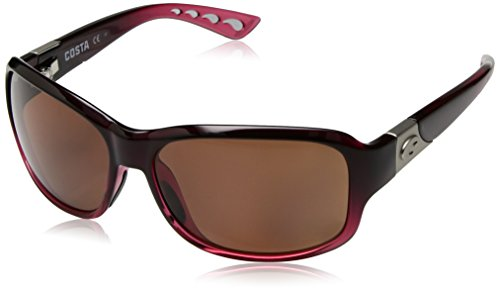 Costa del Mar Women's Inlet Polarized Oval Sunglasses, Pomegranate Fade Framecopper 580P, 58 - Womens Del Mar Costa