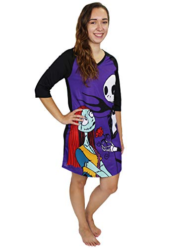 Disney Nightmare Before Christmas Women's 3/4 Sleeve Dorm Nightgown Pajamas (Large, Black/Purple)