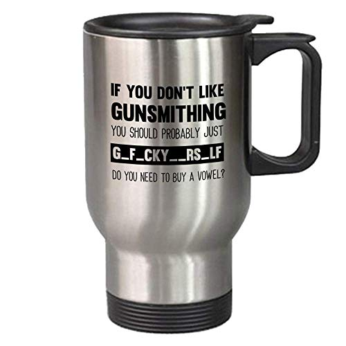 Funny Gunsmithing Gift 14 oz Travel Mug - Unique Novelty Stainless Steel Cup For Adults - Christmas Birthday Present For Men And Women