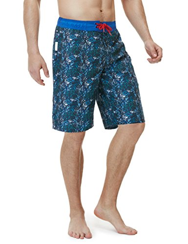 TSLA Men's 11 Inches Swimtrunks Quick Dry Water Beach, Color Block(msb02) - Abstract Blue, X-Small