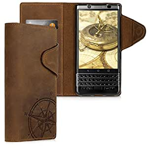 kalibri Wallet Case for BlackBerry KEYone (Key1) - Genuine Leather Book Style Protective Cover with Card Slot - Brown