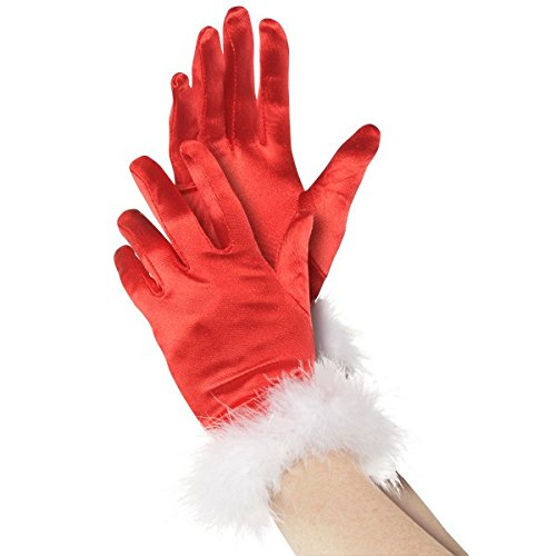 Fun-Filled Christmas and Holiday Party Mrs. Claus Fabric & Plush Gloves , Red/White, Pack of 1 -