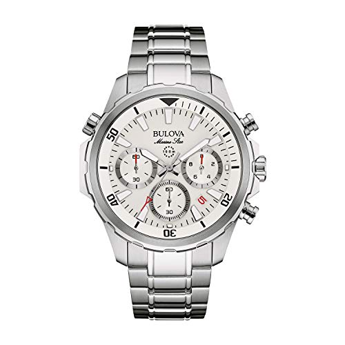 Bulova Men's Quartz Watch with Stainless-Steel Strap, Silver, 22 (Model: - Steel Marine Wrist Watch Stainless