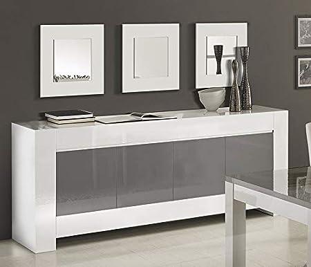 Kasalinea Buffet Bahut Blanc Et Gris Laque Design Flavie 2