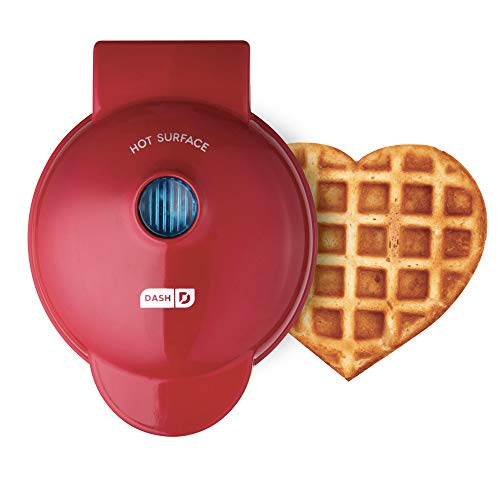 Dash DMW001HR Mini Heart Maker Waffle Iron, Shaped Goodness, Red