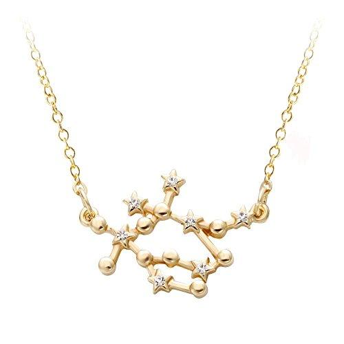 Horoscope Gemini Zodiac Sign (NOUMANDA Gold Plating Star Sign Rhinestone Crystal Necklace Pendants 12 Constellations Zodiac Horoscope Astrology Disc Necklace Jewelry Accessories (Gemini))