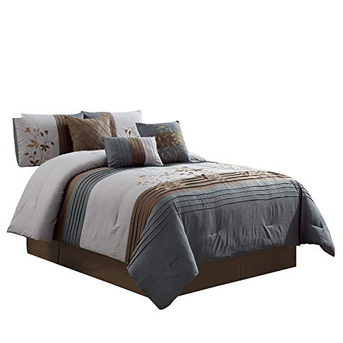 Green Living Group 7-Piece Floral Stem Embroidery Pleated Stripe Comforter Set, King ()