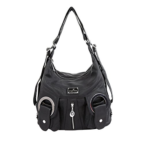 Angelkiss 2 Separated Rooms Multiple Pockets Purses and Handbags Washed Leather Shoulder Bags Backpack W6802 (black) by Angel Kiss