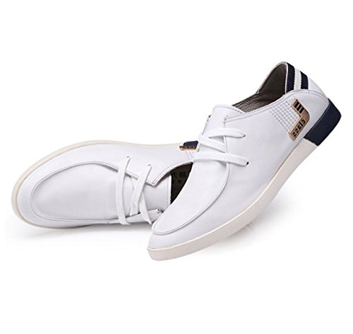OEMPD Homme Everyday Business Chaussures Décontractées Mode Cuir Véritable Chaussures à Lacets Respirant white Th0UxVo