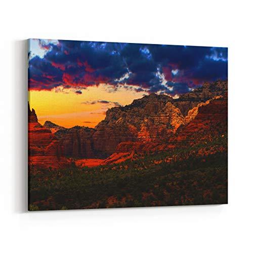 Rosenberry Rooms Canvas Wall Art Prints - Beautiful Sunset Scenery of Sedona, Arizona (10 x 8 inches)