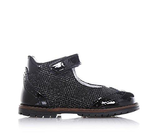 CIAO BIMBI - Chaussure noire en tissu lamé et vernis, avec fermeture en velcro, logo sur la fermeture, avec réalisation à l'anglaise, Fille, Filles