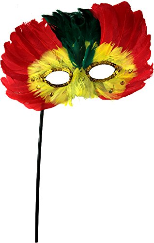 Red and Yellow Feathered Bird Masquerade Mask Costume Accessory -