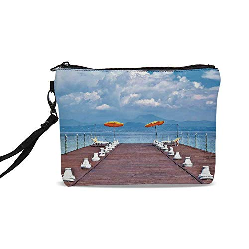 Seascape Simple Cosmetic Bag,Luminous Sunshades and Sun Beds On a Jetty at Lake Seascape Scenic for Women,9