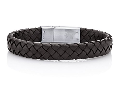 Spartans Mens Leather - SPARTAN Men's Bracelet in Brown Braided Genuine Leather with Stainless Steel   Stainless Steel and Genuine Leather Fits 7 to 8 Inch Wrists Men's Accessories Fashion Bracelet