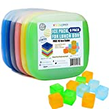 Youngever 6 Pack Ice Packs Lunch Box, Cool Cooler Slim Reusable Ice Packs, Lunch Freezer Pack Free 10 Ice Cubes, Multicolored
