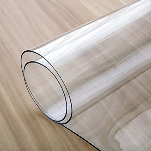HOMEJYMADE Heavy Duty Oil-Proof Waterproof Table Cloth,PVC Vinyl Table Cover Transparent Desk top pad Thickness 1.55mm-A 70x70cm(28x28inch)