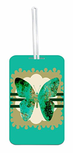 Grunge Butterfly Hard Plastic Luggage Tag with Personalized Back by Jacks Outlet (Image #2)