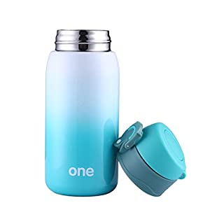 Mini Water Bottle for Kids& Adult, Vacuum Insulated Bottle, Travel Coffee Cup, Stainless Steel Thumbler, Ombre Bottle, Ombre - 320ml/ 11oz (Green-White)