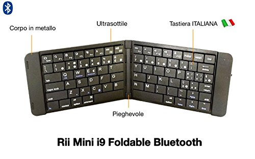 282 opinioni per Rii Mini i9 Foldable Bluetooth (layout ITALIANO)- Tastiera pieghevole bluetooth