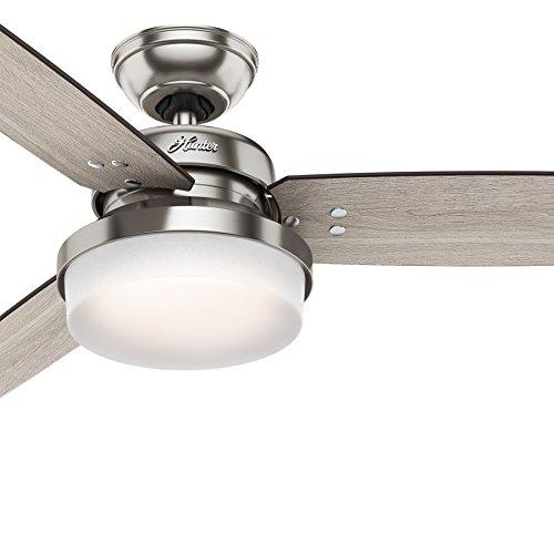 Hunter Fan 52 inch LED Ceiling Fan with Cased White Glass Light Kit, Brushed Nickel Renewed