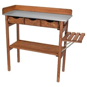Unbekannt Pflanztisch 90x40x90cm Holz Tisch Inkl Seitenablage Inkl