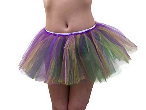 Rush Dance Teens/Adult Solid Color Team 3 Layers Team Spirit Cheer Sports Tutu (Teens/Adults, Purple & Gold & Kelly -