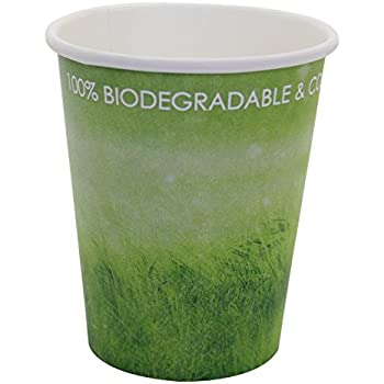 Special Green Grass Design, Paper Hot Cup,Eco-friendly,100% Blodegradable&Compostable, 100 count. (8 OZ)
