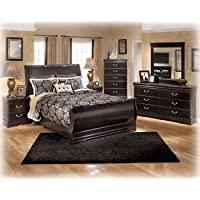 Ashley Esmarelda Classic Curved Queen Sleigh Bedroom Set in Dark merlot Finish