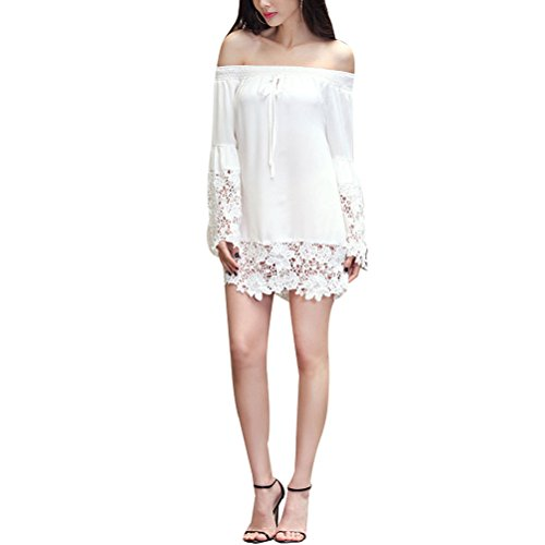 Zhhlaixing Fashion Women's Casual Lace Long Sleeves T-shirts wide boat neck para Pretty Girl White
