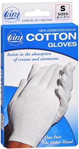 Cara 100% Dermatological Cotton Gloves Small 1 Pair (Pack of 4) by Cara