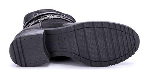 Schuhtempel24 Damen Schuhe Klassische Stiefeletten Stiefel Boots Blockabsatz Nieten 4 cm Schwarz