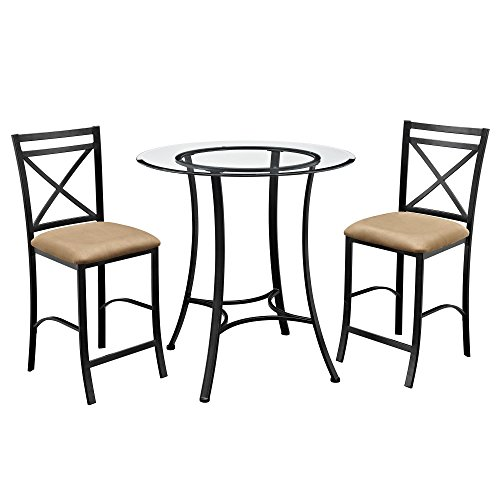 Dorel Living Valerie 3 piece Counter Height Glass and Metal Dining Set, Black / Beige (Counter Table Round Glass Top Height)
