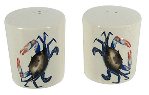 Chesapeake Bay Ceramic Blue Crab Salt and Pepper Shaker Set 69233 2.25 Inches x 2.2 Inches x 12.75 Inches ()