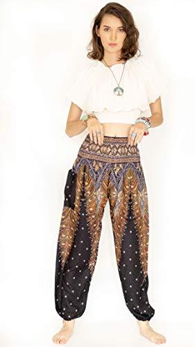 Cotton Rose, Buddha Pants for Women, Genie Pants, Gypsy Pants, Thai Pants, Elephant Pants, Hippie Pants, Boho Pants, Peacock (HPeMi Midnight) -