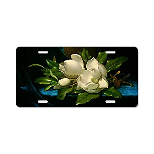 CafePress - Giant Magnolia On A Blue Ve - Aluminum License Plate, Front License Plate, Vanity - Magnolias Giant