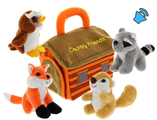 - Plush Woodland Animals with Country House Carrier for Kids- 5pc- Talking Animal Interactive Toy Set- Stuffed Owl, Raccoon, Fox & Squirrel- Great Baby Shower Present for Boys & Girls by Etna