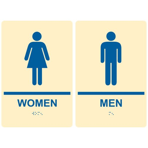 - ComplianceSigns ADA Acrylic Tactile + Braille Womens / Mens Restroom Signs Set, 9 x 6 with English + Braille, Ivory