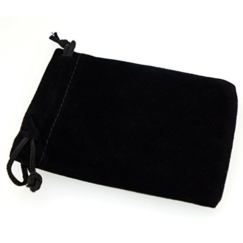 Pack of 12 Black Color Soft Velvet Pouches w Drawstrings for Jewelry Gift Packaging, 7x9cm