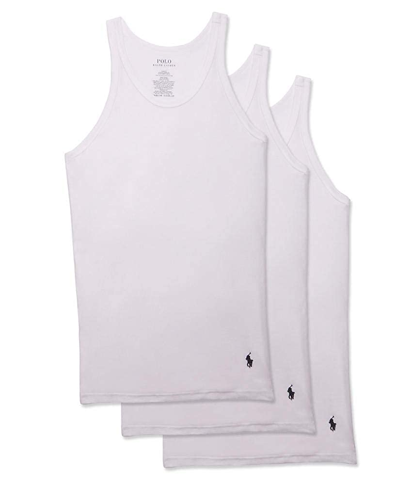 Polo Ralph Lauren Classic Fit Ribbed Tank with Moisture Wicking 100% Cotton - 3 Pack RCTKP3